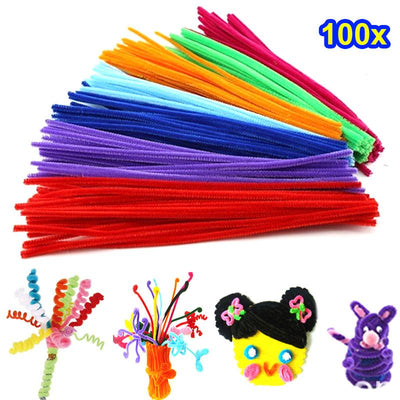 100PCS Kids Child Plush Sticks Rainbow Colors DIY Materials Education Handmade Art Craft Toy Creativity Devoloping Toys @Z310  UpCube- upcube