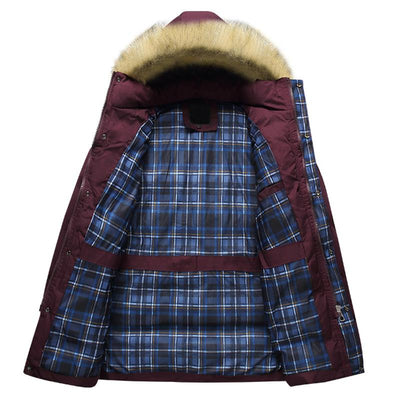 629ee69f9f2d Wine Red Winter Parka Men 2017 Fashion Big Fur Hooded Men s Padded Cotton  Jacket Manteau Homme Hiver Casual Warm Thick Overcoat