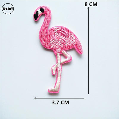 1 PCS Flamingo parches Embroidered Iron on Patches for Clothing DIY Stripes Clothes Unicorn Stickers Custom Badges @M - Dailytechstudios