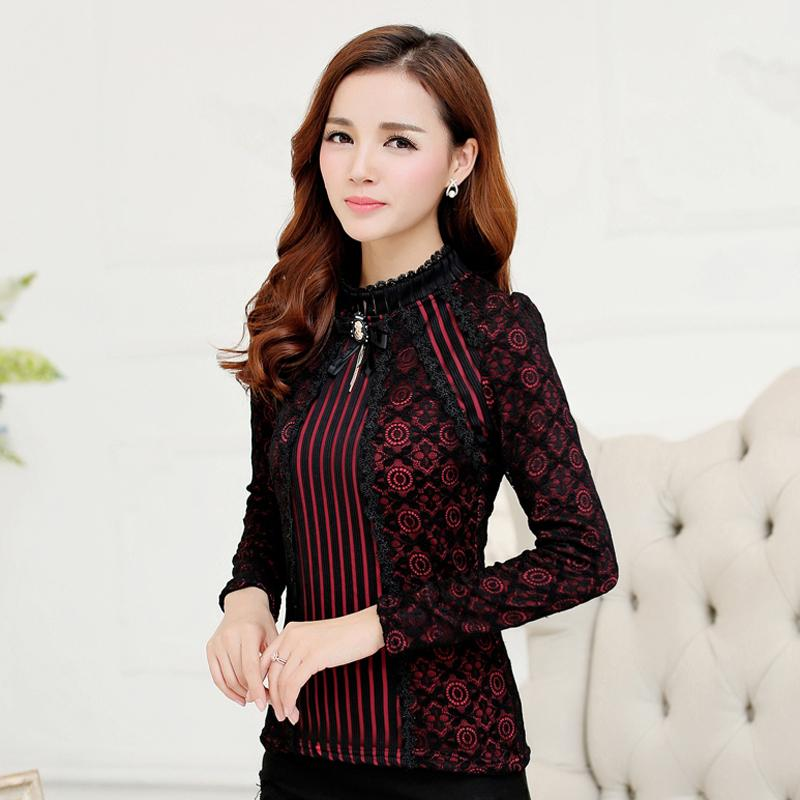 2017 Autumn Winter Fashion Lace Blouse Long Sleeve Slim Body Floral Lace Shirt Women Tops Elegant Plus Size Lace Top 801G 25
