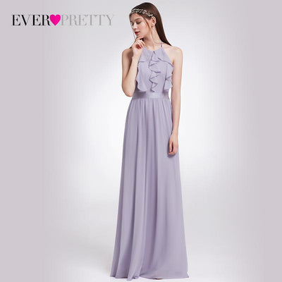 Bridesmaid Dress Ever Pretty Women Elegant Halter Ruffles Adjustable Floor-Length  Sleeveless Backless Wedding Party 2d1175fa3bf8