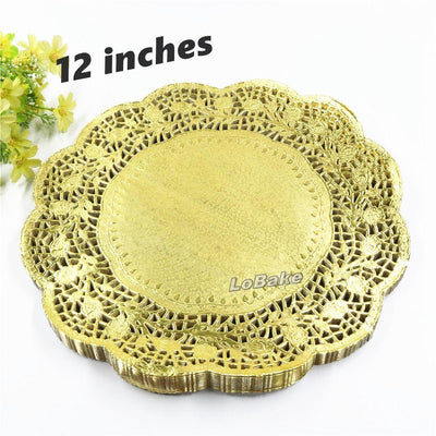 (100 pieces/pack) New arrivals 12 inches gold colored round paper lace doilies cupcake bread placemats home dinner tableware - Dailytechstudios