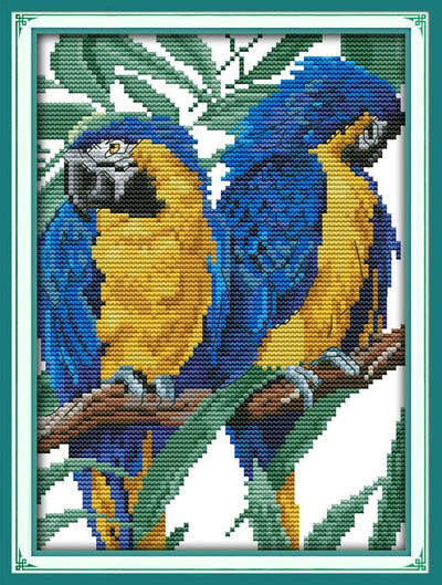 Blue-headed Parrot Home Decor Needlework Patterns Needlework Set Printed Cross Stitch Canvas Cross Stitch Fabric