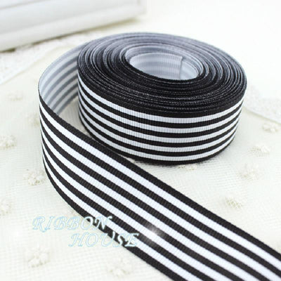 (5 yards/lot) 1'' (25mm) Black and White Stripe grosgrain ribbon printed gift wrap ribbon decoration ribbons - Dailytechstudios