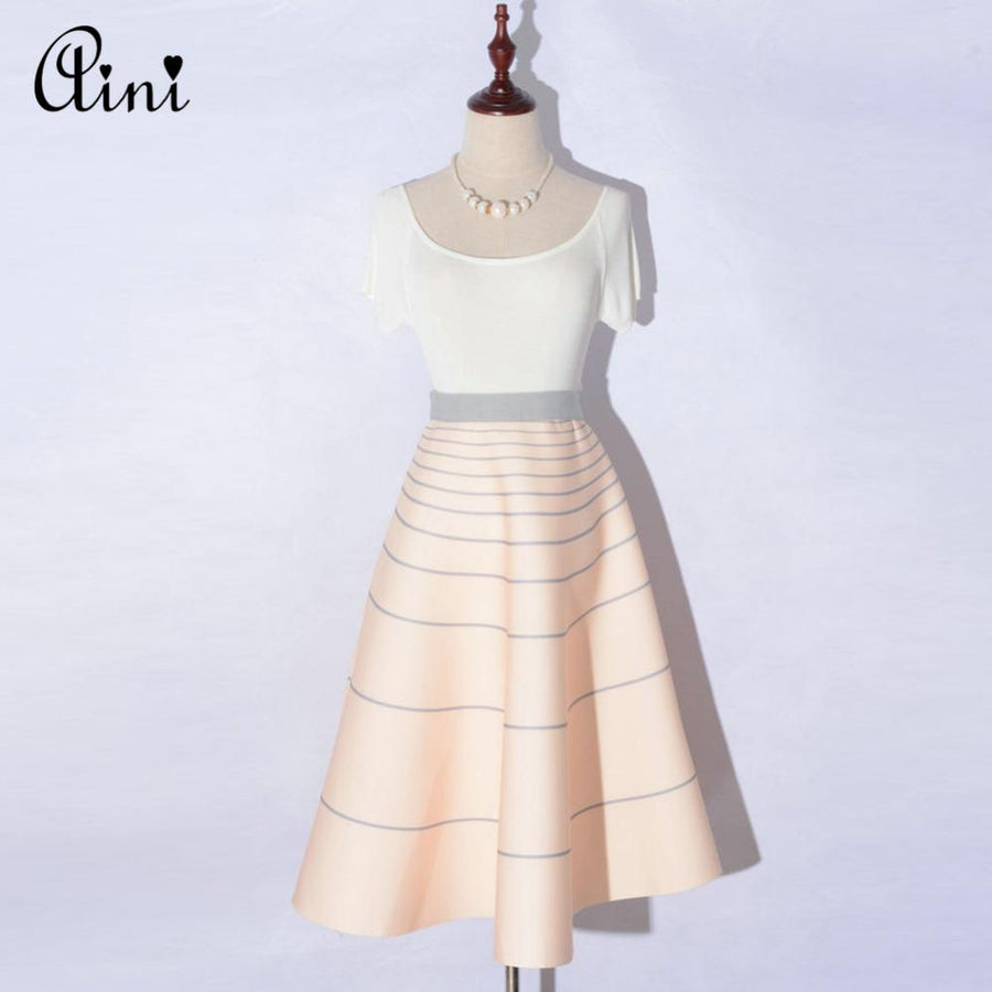 20 Colors New Spring Hepburn Style Mermaid Flare Thick Skirt Stretch High Waist Dotted Wave Striped Pleated Puff Long Skirt Saia