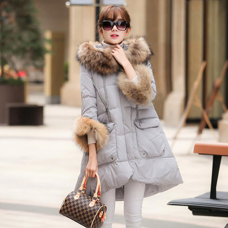 100% Real Raccoon Fur Collar 2017 Down Parka 90% White Duck Down Jacket Womens Winter Jackets And Coats For Winter Jacket Women