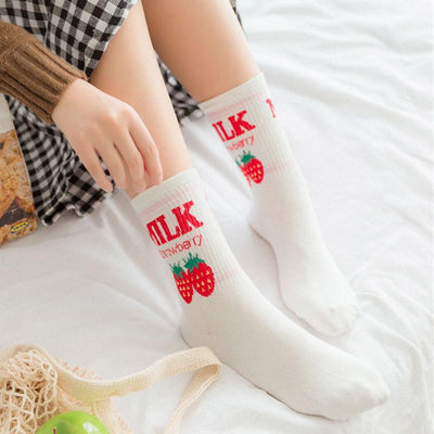 11 Style Cute Lolita Cotton Women Socks Kawaii Letter Milk Strawberry Pineapple Banana Fruit Socks Pink Ice Cream Crew Socks