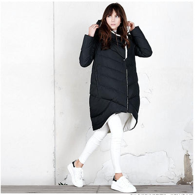 (TopFurMall)European Winter Women's Down Parkas Coats with Hoody 80% Duck Down Lady Fashion Outerwear Overcoat LF4086 - Dailytechstudios