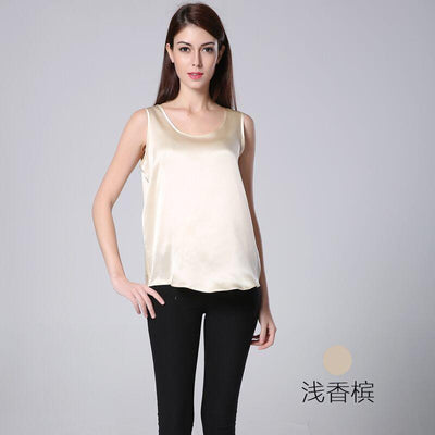 100% Silk Vest Female Summer Heavy Big Code Loose Sleeveless Collar Shirt In The Long Bottom Sling 16 m/m crepe satin.
