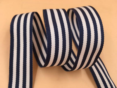 "(10 yards/lot) 7/8"" 22mm Navy and White Stripe grosgrain ribbon printed gift wrap ribbon decoration ribbons - Dailytechstudios"