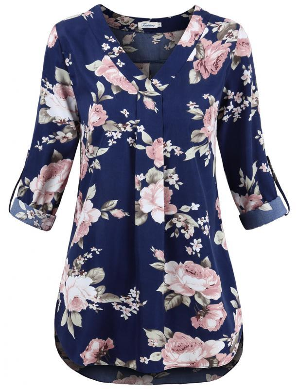 0b11817cb3881 Autmn women vintage floral pattern blouse long sleeve Tunic shirts female  casual Winter asymetrical tops blusas