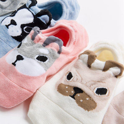 1Pair New Fashion Women Lady Girls Cute Dog Ankle Low Cut Crew Casual Color Cotton Socks  dailytechstudios- upcube