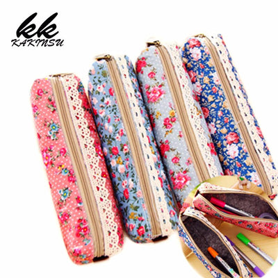 1 Pcs New Kawaii Lovely Wave Point Pencil Canvas Pencil Bags Lady Cosmetic Makeup Coin Pouch for girls Gift Purse bolsos - Dailytechstudios