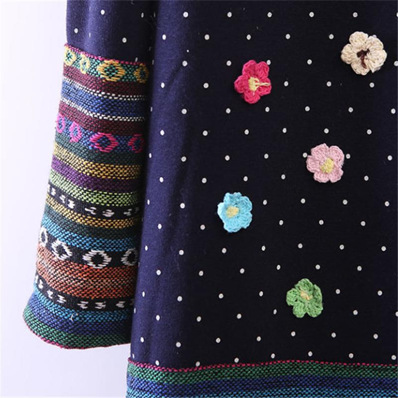 2017 autumn winter kimono linen flannel splice rainbow striped shirt Elegant ladies polka dot blouse embroidery Flowers blusas