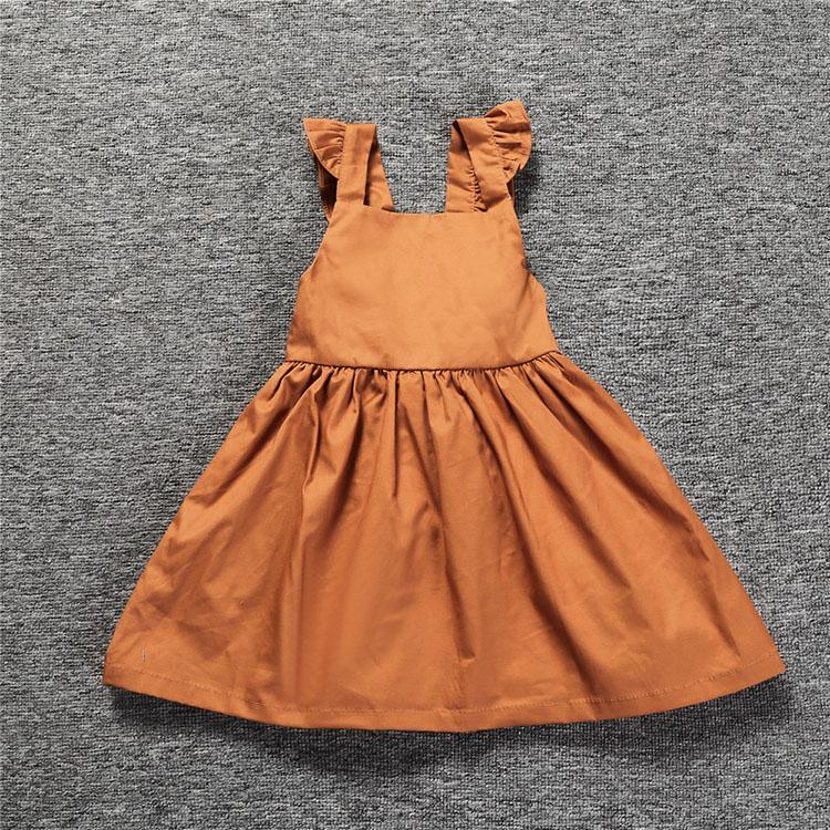 2017 Children Dresses Summer Girl Clothes Flip-flops Girls Pumpkins Color Vest Dress Girl Clothes Back-dresses Girl Dress SQ333