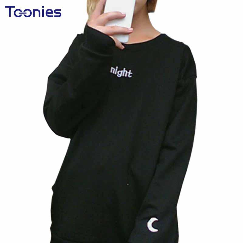 2018 Women Men Hoodies Casual Day Night Embroidered Letter Sun Moon Ladies  Hoody Tops Lover Harajuku 1ded1457bcc5