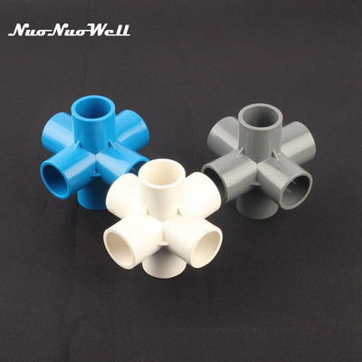 1pcs NuoNuoWell 25mm 32mm Plastic PVC Six (6) Way Connector Garden Irrigation Watering Joint Tube Adapter Water Pipe Fittings  UpCube- upcube