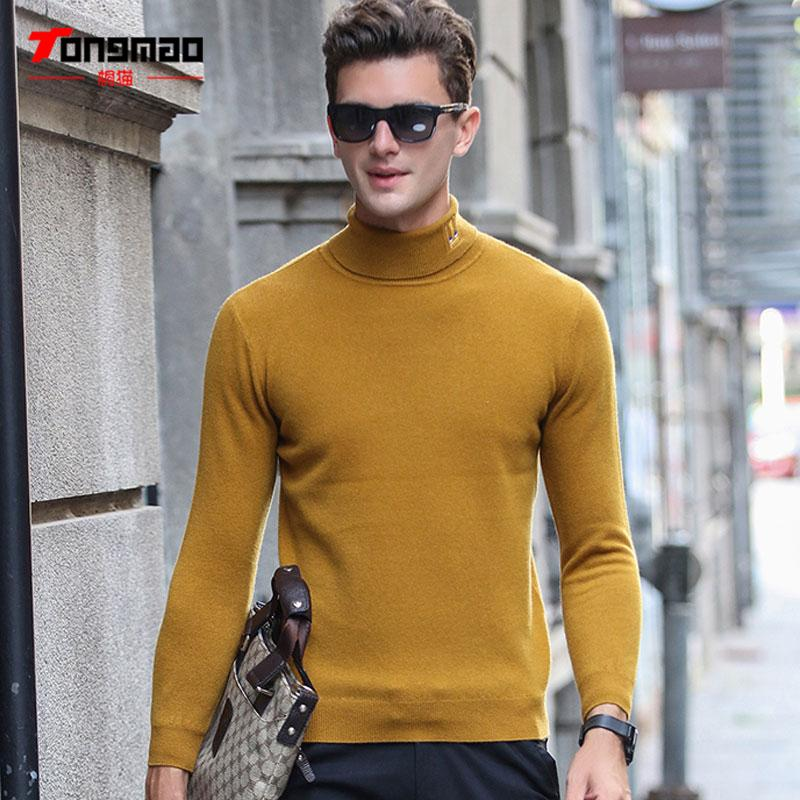 2017 Autumn Winter Men Clothing 100% Pure Wool Turtleneck Men Pullover Casual Solid Color Long Sleeve Slim Knitted Mens Sweaters
