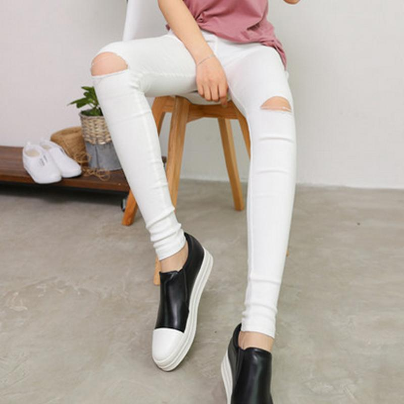 2017 High Elastic imitate Skinny Jeans Womens High Waist Torn Jeans Ripped Hole Knee Skinny Pencil Pants Slim Capris For Women