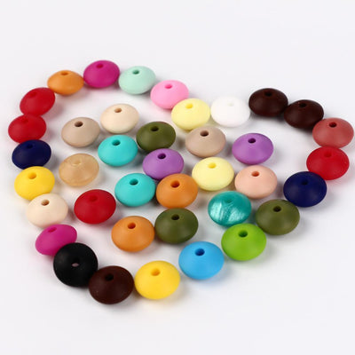 100pc 12mm Silicone Lenses Beads For Pacifier Clips Lentile Teething Bead DIY Baby Teether Bracelet Abacus Chewing Soother Chain  UpCube- upcube