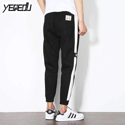#2822 Ankle-length Black harem pants Harajuku Side striped Streetwear Hip hop pants Elastic waist sweatpants Pantalon hombre 5XL - Dailytechstudios