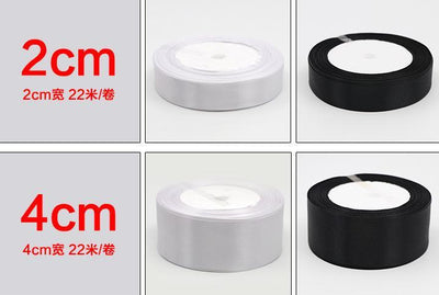 (25 Yards/roll) 6/10/15/20/25/40/50mm Black White Single Face Satin Ribbon DIY Gift Wrapping Christmas Ribbons - Dailytechstudios