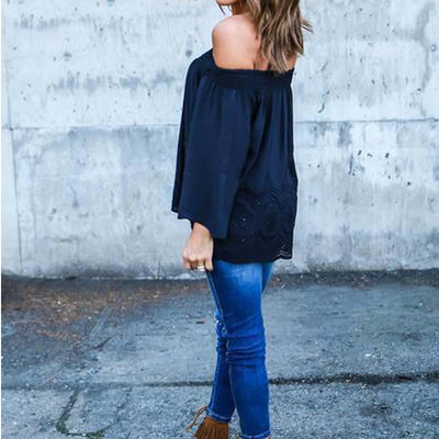 Blusas 2018 Spring Sexy Women Off Shoulder Slash Neck Lace Solid Shirts Long Sleeve Loose Casual Basic Top Blouse 3XL 6Q0041