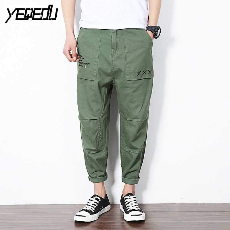 #2817 Cargo pants military style Loose Fashion Harem Mens lightweight summer pants Ankle-length Cotton Sarouel homme Joggers 5XL