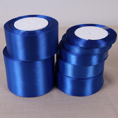 (25 Yards/roll) 6/10/15/20/25/40/50mm Sapphire Color Single Face Satin Ribbon DIY Gift Wrapping Christmas Ribbons - Dailytechstudios