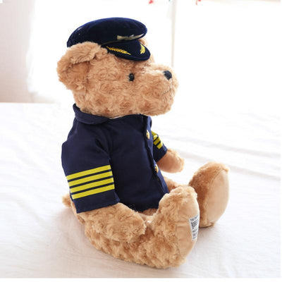 1pc 25cm Cute Pilot Teddy Bear Plush Toy Captain Bear Doll Birthday Gift Kids Toy Baby Doll Stuffed Animal Toys for Children  UpCube- upcube