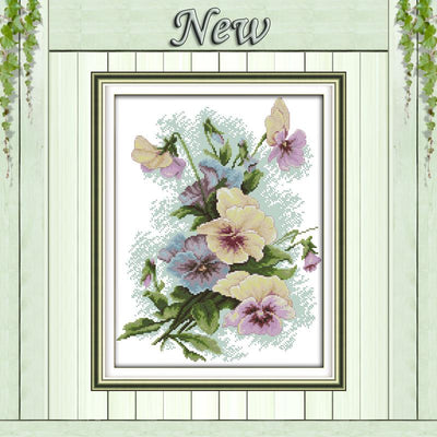 Blossom Pansy flowers home decor painting counted print on canvas DMC 14CT 11CT DIY Cross Stitch Embroidery kits Needlework Sets  UpCube- upcube