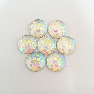 (30 pieces/lot) white AB round Resin flower Flatback scrapbook Wedding decoration Buttons D444 - Dailytechstudios