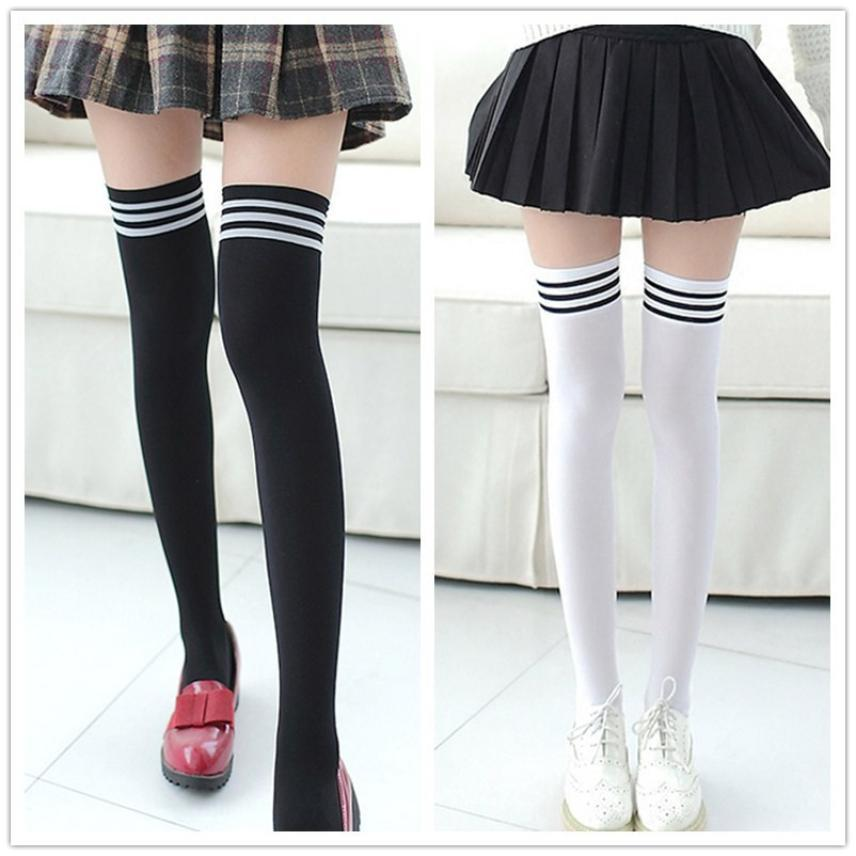1 Pair Fashion Thigh High Over Knee High Socks Girls Womens New Long Cotton Stockings For Girls Ladies Women Hot Selling - Dailytechstudios