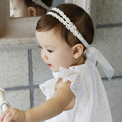 1 PCS Beige Flower Bow Girls Headbands Newborn Infant Hair Accessories Children Elastic Hair Bands Kids Headwear Baby Headdress - Dailytechstudios