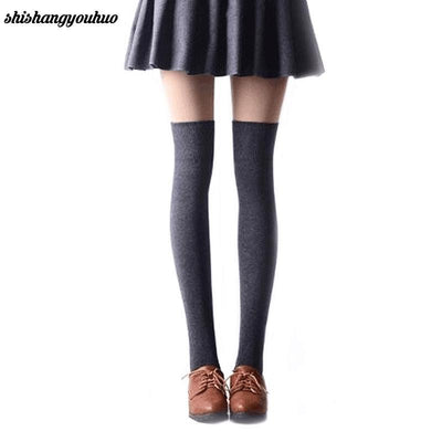 1 Pair 5 Solid Colors Fashion Sexy Warm Thigh High Over the Knee Socks Long Cotton Stockings For Girls Ladies Women - Dailytechstudios