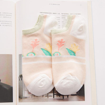1Pairs Cartoon Cotton Stealth Super Shallow Mouth Invisible Socks Cotton Silicone non-slip For women Boat Quality Short Socks