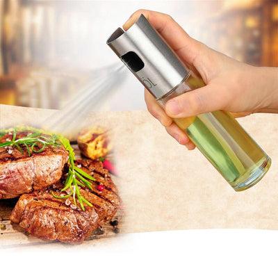 100ML Kitchen Cooking Tools Glass Oil Pump Spray Fine Bottle Olive Can Seasoning Vinegar Stainless Steel Spraying Bottle BBQ  UpCube- upcube