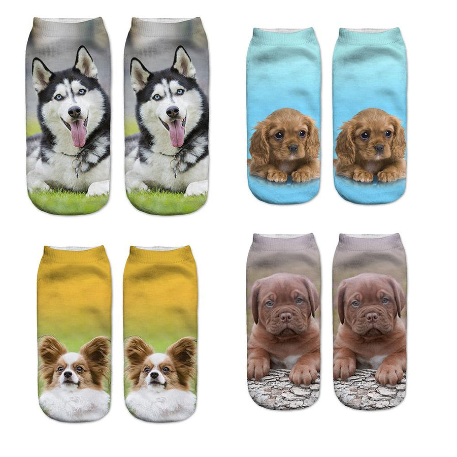 1 Pair Funny 3D Socks Woman Women's Socks Fantasy Polyester Cute Harajuku Style Dogs Printed Socks New Arrival - Dailytechstudios