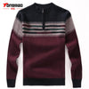 100% Wool Mens Sweater Autumn Winter Warm Zipper O-Neck Slim Fit Men Pullover Fashion Striped Solid Color Sweaters Men Knitwear