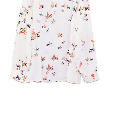 #5505 Women Summer Casual Flying Pigeon Pattern V-Neckline Long Sleeve Tether Blouse Chiffon Floral Shirt - Dailytechstudios