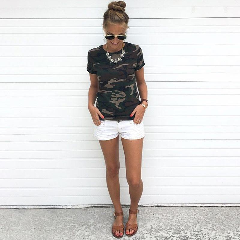 2018 Fashion Shirt Female T-shirt Tumblr Camouflage Prints Tops Short Sleeves Women Tshirt Military Uniform Casual Top Clothing