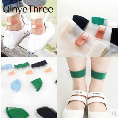 1Pair New Hot sales Colorful Ultrathin Transparent Beautiful Crystal Lace Elastic Short Women Socks