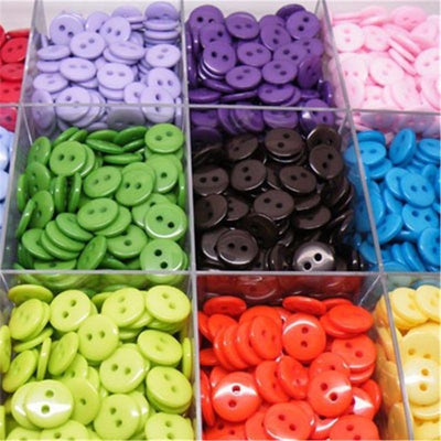 1000pcs Mixed Color Buttons Scrapbooking Round Shape Resin 2 Holes 11mm Sewing Buttons DIY Decoration  UpCube- upcube