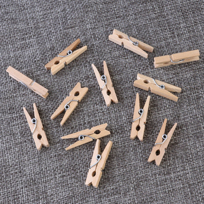 100pcs 3cm Mini Natural Wood Clip Mini Craft Pegs Cloth Photo Hanging Spring Clips Pinch Office School Supply  UpCube- upcube