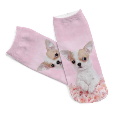 1pair 3D Pink Rose Dog Pug Printed sock Men New Unisex Cute Low Cut Ankle Sock Women Short Socks for Sale