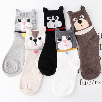 (5 pairs/lot )Top fashion 3D cartoon woman Socks College Students cotton Socks Lovely girl Everyday socks - Dailytechstudios