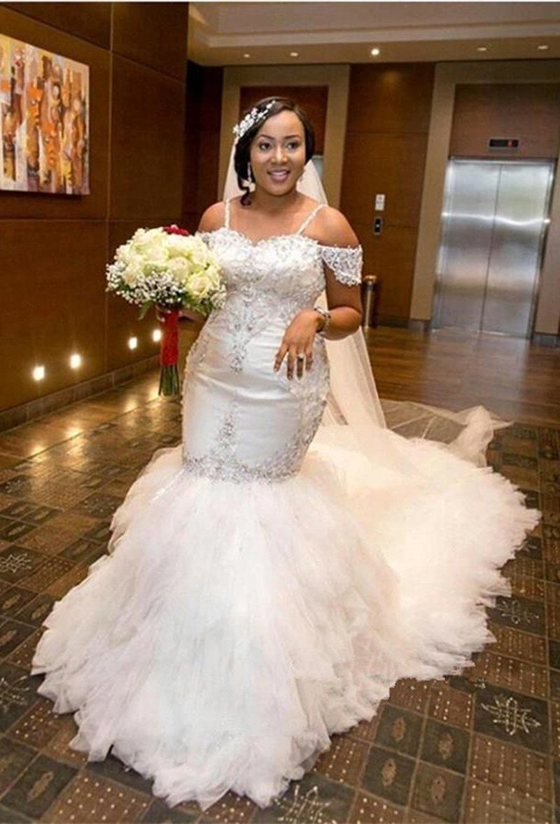 African Plus Size Wedding Dresses Spaghetti Straps Lace Appliques Beadding  Capped Mermaid Wedding Dress Tiered Tulle 7418b8e816d6
