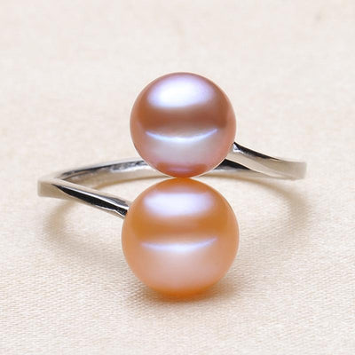 100% real Adjustable 925 sterling double pearl ring for any size,multi white natural freshwater pearl rings jewelry fashion gift  dailytechstudios- upcube