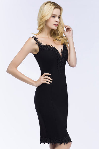Babyonline Sexy Sweetheart Black Cocktail Dresses 2018 Knee Length