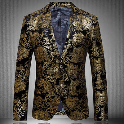 2017 New Arrival Fashion Party Single Breasted Men Suit Jacket Gold Blazer and Men Floral Casual Slim BlazersPlus Size S-4XL